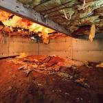 This is a damaged crawl space in St.Louis.