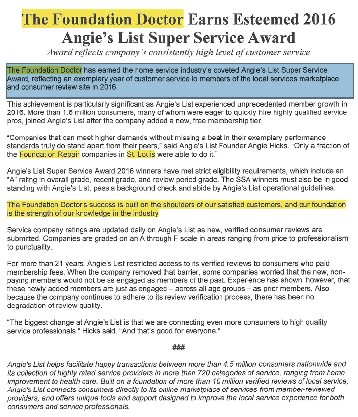 The Foundation Doctor Earns 2016 Angie's List Super Service